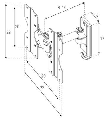 Кронштейн для телевизора Sonorous Surefix 510 - габаритные размеры