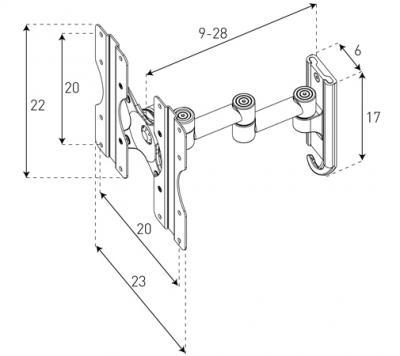 Кронштейн для телевизора Sonorous Surefix 520 - габаритные размеры