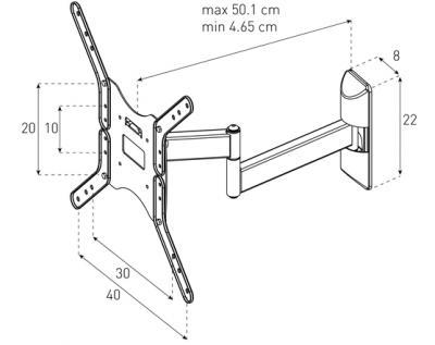Кронштейн для телевизора Sonorous Surefix 521 - габаритные размеры
