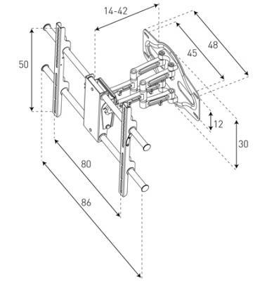 Кронштейн для телевизора Sonorous Surefix 540 - габаритные размеры