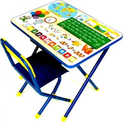 Стол+стул Дэми №1 Глобус (синий) - общий вид