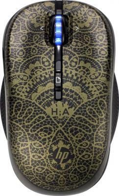 Мышь HP AHercovitch Wireless Mouse (H2P31AA Black-Gold) - общий вид