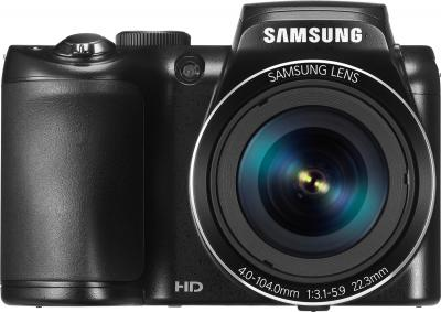 Компактный фотоаппарат Samsung WB110 (EC-WB110ZBABRU) Black - вид спереди