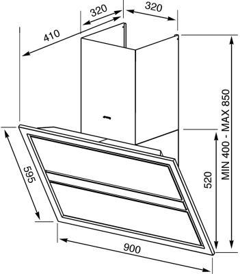 Вытяжка декоративная Smeg KCVB9B - схема