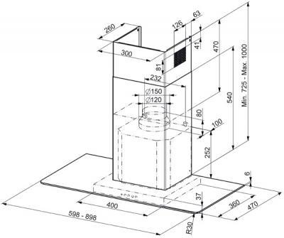Вытяжка Т-образная Smeg KFV92D - схема