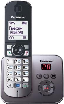 Беспроводной телефон Panasonic KX-TG6821 (серый металлик) - общий вид