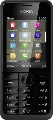 Мобильный телефон Nokia 301 Dual (Black) - вид спереди