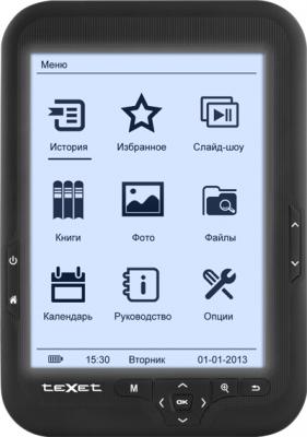 Электронная книга TeXet TB-416FL (Black) - фронтальный вид