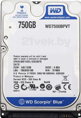 Жесткий диск Western Digital Scorpio Blue 750 Gb (WD7500BPVT) - общий вид
