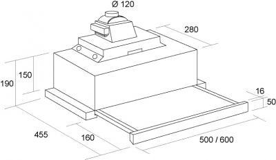 Вытяжка телескопическая Pyramida TL Glass 50 (нержавеющая сталь/черный) - схема