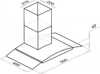 Вытяжка купольная Backer QD60A-G6L120 (50, нержавейка/темное стекло) - схема