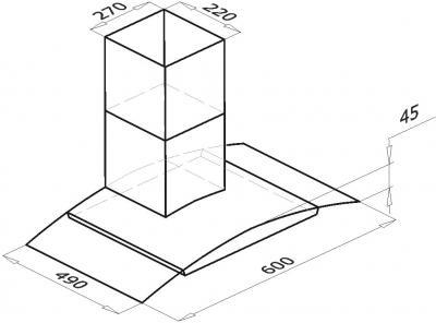 Вытяжка купольная Backer QD60A-G6L120 (White-Dark Glass 50) - схема
