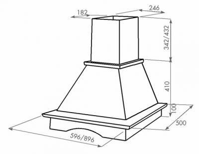Вытяжка купольная Zorg Technology Драко (Oda) 1000 (60, неокрашенное дерево) - схема
