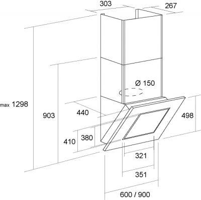 Вытяжка декоративная Pyramida BT-600 (черный) - схема
