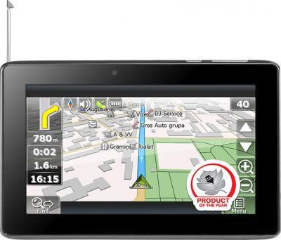 GPS навигатор Prestigio GeoVision 7777 (PGPS7777CIS8GBNV) - фронтальный вид с антенной
