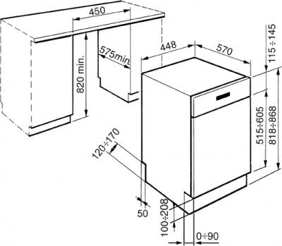 Посудомоечная машина Smeg PLA4525X - схема