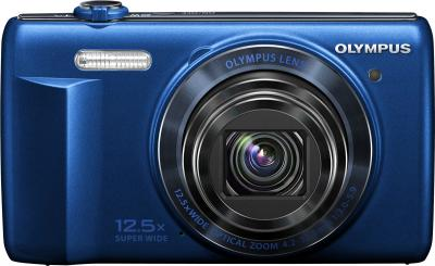 Компактный фотоаппарат Olympus VR-370 (синий) - вид спереди