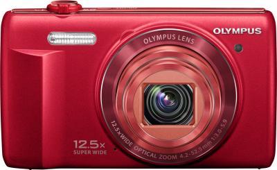 Компактный фотоаппарат Olympus VR-370 (красный) - вид спереди