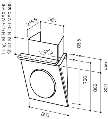 Вытяжка декоративная Elica OM TC3+I F/80 WH - схема
