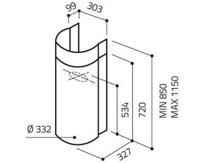 Вытяжка коробчатая Elica Stone WH/A - схема