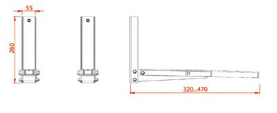 Кронштейн для СВЧ Electric Light КБ-01-10 (металл) - габаритные размеры
