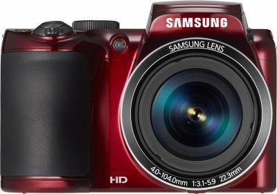 Компактный фотоаппарат Samsung WB110 (EC-WB110ZBARRU Red) - вид спереди