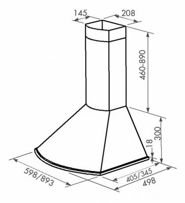 Вытяжка купольная Zorg Technology Лео M (Bora) 750 (90, White) - схема