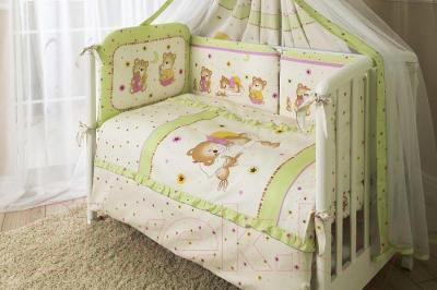 Комплект в кроватку Perina Ника Н7-01.1 (Мишка на подушке салатовый)
