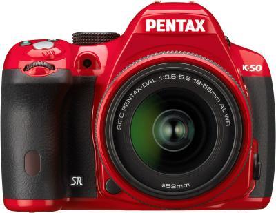 Зеркальный фотоаппарат Pentax K-50 Kit (DA L 18-55mm WR, красный) - вид спереди
