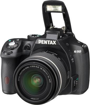 Зеркальный фотоаппарат Pentax K-50 Kit (DA L 18-55mm WR, черный) - общий вид