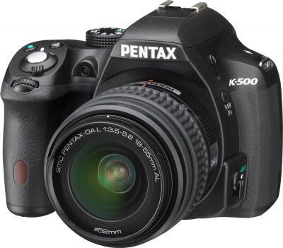 Зеркальный фотоаппарат Pentax K-500 Kit (DA L 18-55mm, Black) - общий вид