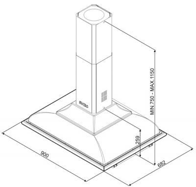Вытяжка купольная Smeg KCI19P - схема