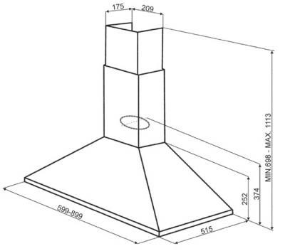 Вытяжка купольная Smeg KSA900HX - схема