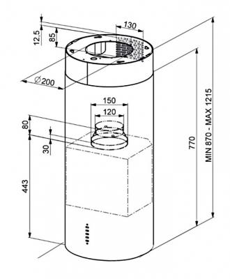 Вытяжка коробчатая Smeg KIR37X - схема