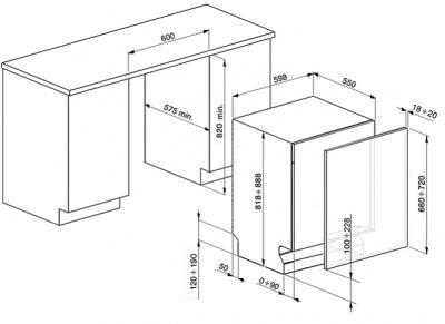 Посудомоечная машина Smeg ST321 - схема встраивания