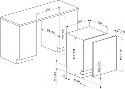 Посудомоечная машина Smeg ST323L - схема встраивания
