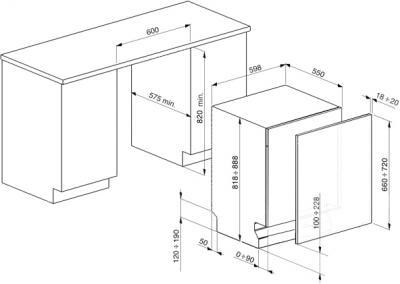 Посудомоечная машина Smeg ST324L - схема встраивания