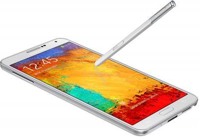 Смартфон Samsung N9000 Galaxy Note 3 (White) - общий вид с пером S Pen