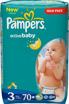 Подгузники Pampers Active Baby 3 Midi (70шт) - общий вид