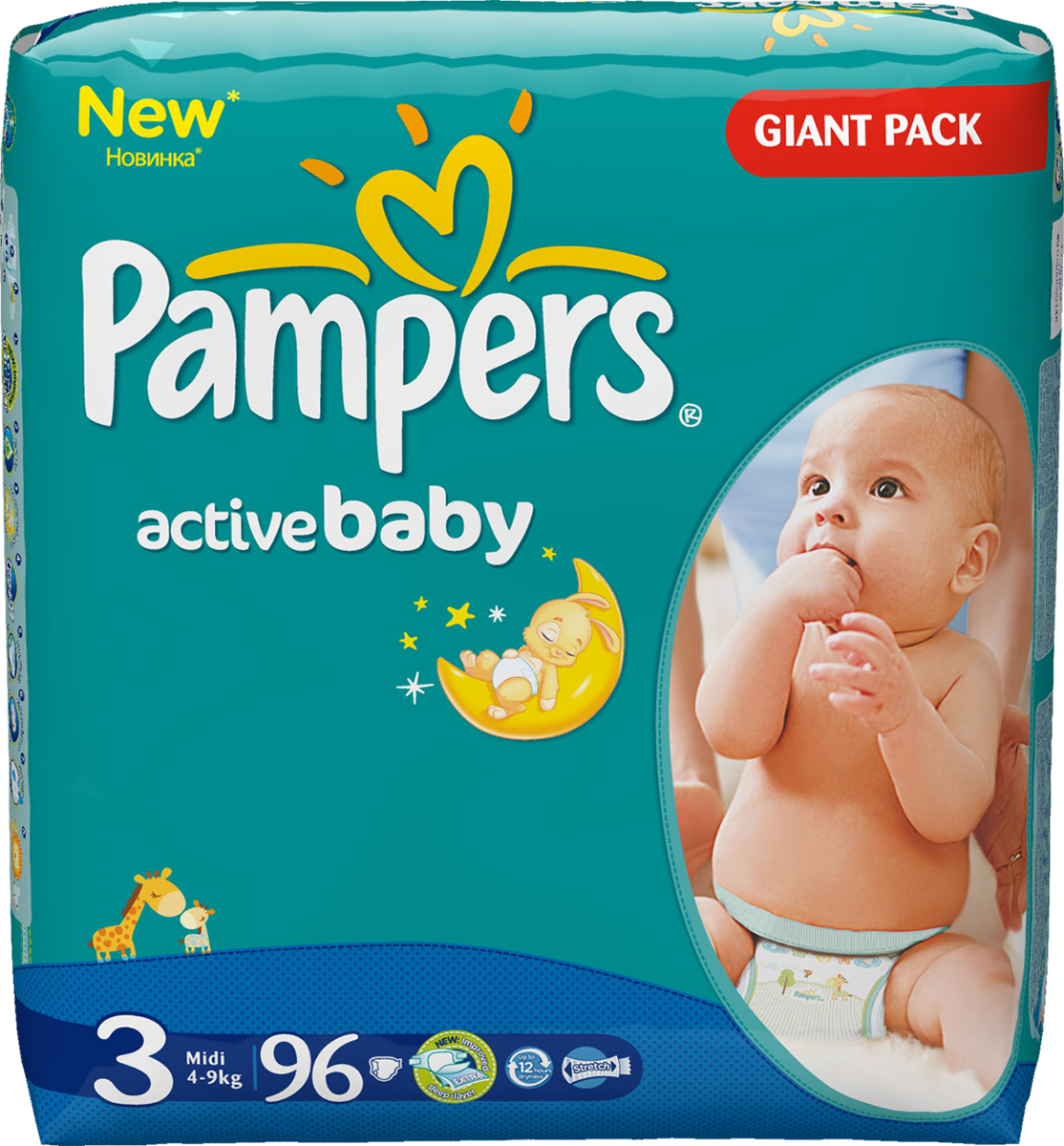 Active Baby 3 Midi Giant Pack (96шт) 21vek.by 329000.000