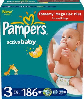 Подгузники Pampers Active Baby 3 Midi (186шт) - общий вид