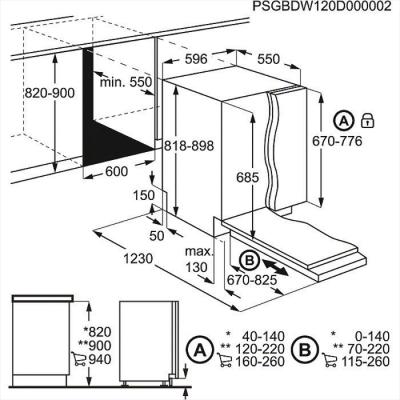 Посудомоечная машина Electrolux ESL6601RO - схема встраивания