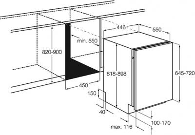 Посудомоечная машина Electrolux ESL4650RO - схема встраивания