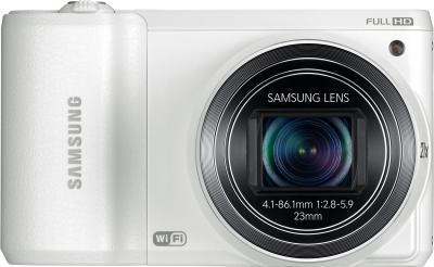 Компактный фотоаппарат Samsung WB800F (White, EC-WB800FFPWRU) - вид спереди
