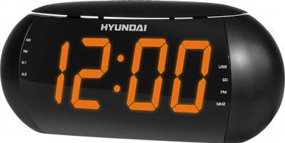 Радиочасы Hyundai H-1550 (Black-Orange) - общий вид