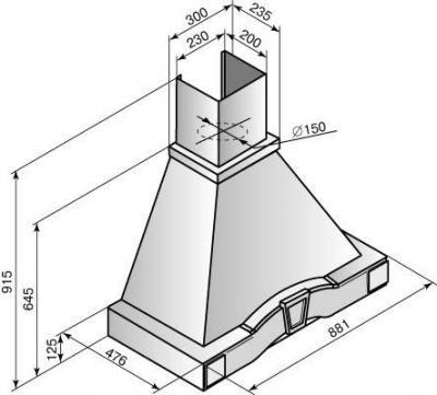 Вытяжка купольная Elikor Грильяж (90 White) - схема