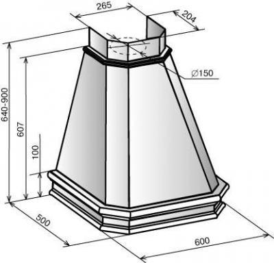 Вытяжка купольная Elikor Пергола 60 (бежевый/дуб коричневый) - схема