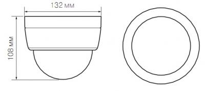 IP-камера Evidence APIX Dome / E2 (f=3.0-9.0mm) - Размеры камеры