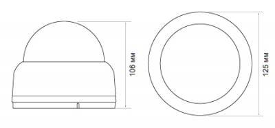 IP-камера Evidence APIX Dome / E3 (f=3.0-9.0mm) - Размеры камеры