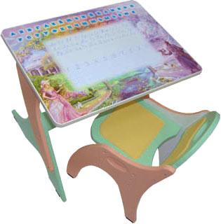 Стол+стул Интехпроект Буквы-Цифры 14-387 (салатовый и розовый) - общий вид